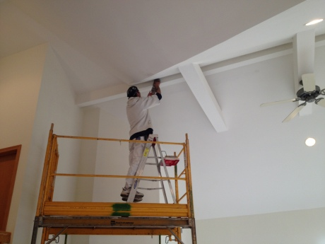 Prepping a great room ceiling.